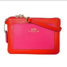 Coach wristlet!! Beautiful cardinal and pink ruby coach wristlet!   leather new with tags! It is a washed pebble leather! Such beautiful colors! Coach Bags Clutches & Wristlets