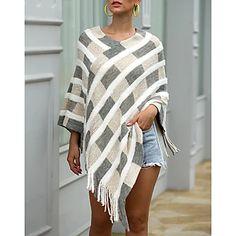 LightInTheBox - Παγκόσμιες Online Αγορές για Φορέματα, Σπίτι & Κήπος, Ηλεκτρονικά Προϊόντα, Ένδυση Γάμου Loose Sweater, Long Sleeve Sweater, Sweater Cardigan, Motif Tartan, Rainbow Cardigan, Cheap Sweaters, Poncho Tops, Online Clothing Stores, Fall Winter