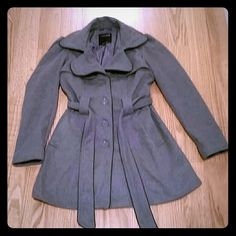 Womens grey coat Beautiful and fun style women's grey dressy coat, ties around waist, capped sleeves which gives it an even more feminine look.  Lines inside.  Great for cold weather not a light coat.  Polyester and wool.  Pet and smoke free home.  Posted on other sites.  No holes open to trades Therapy by Lane Crawford Jackets & Coats