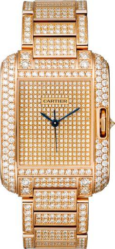 Tank Anglaise watch Large model, 18K pink gold, diamonds