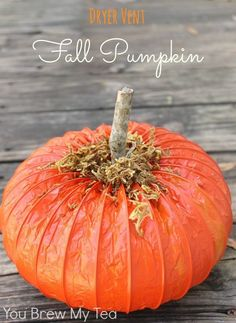 Make our easy and fun DIY Dryer Vent Pumpkin Craft with just a few supplies!  A great Halloween craft or Thanksgiving craft idea that is frugal and easy to make!