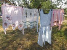 I love my clothesline out back, although I hardly use it for drying. It's perfect to show the vintage aprons for sale in my shop. Aprons For Sale, Vintage Dishware, Aprons Vintage, Clothes Line, Valance Curtains, Hand Embroidery, I Shop, Inspiration, Passion