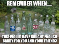 Returning bottles for the change.