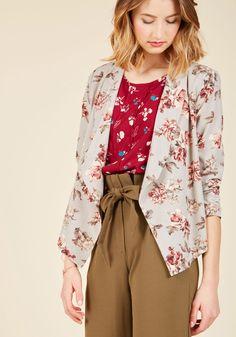 Outerwear - Marketing Maven Blazer in Grey Floral