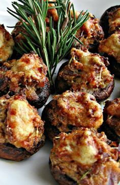 Sausage Asiago Stuffed Mushrooms