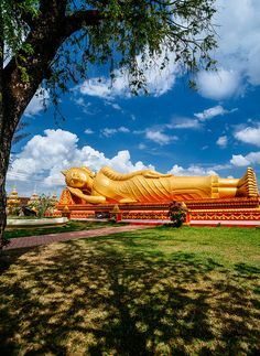 Reclining Buddha statue, located next to Pha That Luang, Vientiane, Laos Buddhist Monk, Buddhist Temple, Les Philippines, Reclining Buddha, Colani, Mountainous Terrain, Vientiane, French Colonial, Luang Prabang