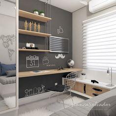Neste quarto jovem seguimos uma linha sóbria e moderna, combinando branco, pret. Kids Room Design, Home Office Design, Home Office Decor, Small Room Design, Room Shelves, Kids Bedroom, Bedroom Ideas, School Desks, Small Spaces
