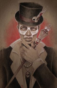 Baron Samedi: One of spirits of Death, he is a guardian of the crossroads, the place where spirits cross over into our world. In some Caribbean cemeteries the first burial in it is dedicated to Baron Samedi.