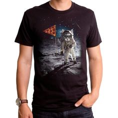 Ballin Space Cat (GT4784-101BLK) Men's t-shirt. Cats, cat lover, gangsta cat, pizza, space, funny mens t-shirt, ballin mens tee, funny cat.