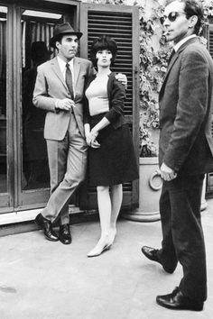Brigitte Bardot and Michel Piccoli with director Jean-Luc Godard on the set of Le Mepris, 1963.
