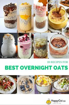 The 20 BEST Overnight Oats Recipes From happygut.ca #vegan #glutenfree #breakfast