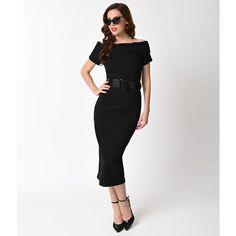 Vintage Diva 1940s Style Black Stretch Off Shoulder Jazmin Wiggle... (€135) ❤ liked on Polyvore featuring dresses, black, pencil dresses, vintage cocktail dresses, zip up dress, off the shoulder cocktail dress and off shoulder cocktail dress