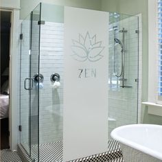 Film adh sif pour paroi de douche fleur baroque salle - Stickers pour paroi de douche ...
