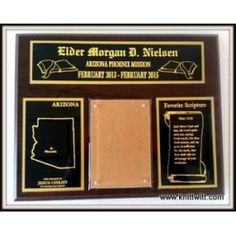 "LDS Missionary Plaques, Arizona Mission - Use promo code ""PINTEREST"" on www.knittwitt.com for 50% off your order!"