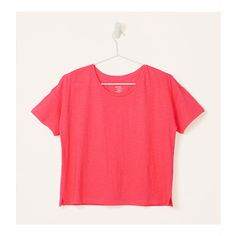 LOFT Cropped Vintage Broken In Tee ($20) ❤ liked on Polyvore featuring tops, t-shirts, highlight coral, crew neck t shirt, red crop top, vintage t shirts, crewneck tee and crop top