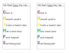 Help your students to start their day like CHAMPS!  Print and laminate these checklists for durability.  We have a class job in charge of passing these out at the end of the day so that they are on each student's desk first thing in the morning.