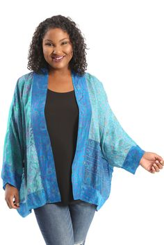 Greensewn Turquoise Dream Kimono A great plus size piece for your holiday party.