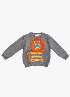 Stella McCartney Kids Ira Lion Baby Knit Sweater in Grey Newborn Outfits, Boy Outfits, Stella Mccartney Kids, Baby Sweaters, Baby Knitting, Christmas Sweaters, Knitwear, Kids Fashion, Men Sweater