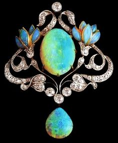 Art Nouveau opal and diamond-set brooch.