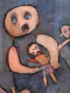 Mère et enfants (détail) par Marie -Christine Bouyer   jean-boccacino.tumblr.com/  Marie -Christine Bouyer est une artiste handicapée mentale du collectif ARTELIER. www.blurb.fr/books/3010877  Peinture acrylique sur toile