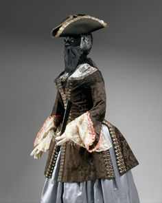 18th Century Italian - note the face veil and bonnet (possibly a calash, hard to tell from this angle) with the felt hat on top.