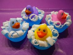 Mini rubber duckie on a blue glycerin soap pond by thelemoncat, $5.00