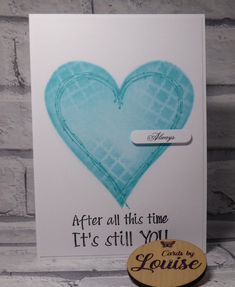 Handmade Valentine card, anniversary card, featuring red and turquoise heart,After all this time it's still you by LouisesCardsandGifts on Etsy