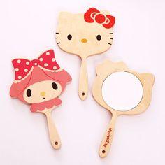 Hello Kitty Wooden Wood Hand Mirror KOREA Best Gift