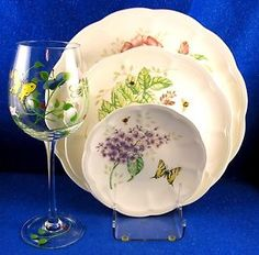 LENOX-Butterfly-Meadow-60-Piece-for-12-with-Stemware-Pristine-ESTATE-ISW