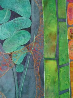 """Detail of """"Potential III"""" fiber art by Karen Kamenetzky, machine-quilted and pieced, hand-dyed cotton and yarns, 2004"""