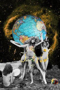 Hippie Neraides by Eugenia Loli Collage Collage Kunst, Collage Art, Kunst Inspo, Art Inspo, Art Pop, Art And Illustration, Psychedelic Art, Collages, Eugenia Loli