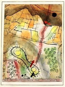 """Paul Klee 'Concise Description of a Pass over the Ganges' 1924 Gouache,watercolor, pen and India ink on paper on card 6.81 x 5.43"""""""