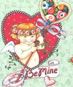 BE MINE-Handcrafted Cupid Valentine Fridge Magnet-Art by Mary Engelbreit