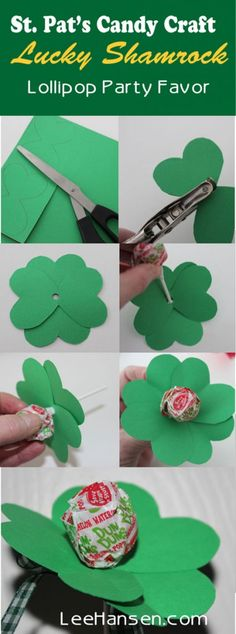 4 Leaf Clover Candy Craft Card - Lucky Shamrock Party Favor Lollipop Card Craft ideal for kids and party favors too :) Sweet Bouquets Candy, Candy Crafts, Paper Crafts, Sucker Bouquet, Lollipop Party, Party Favors For Kids Birthday, Gifts For Office, Holiday Themes, Easy Crafts For Kids