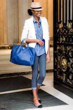 hat + white blazer + chambray + jeans