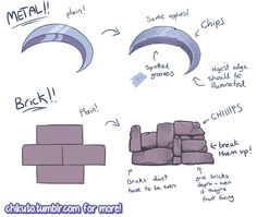 A quick cheat sheet for making your environments look a bit more lived-in and weathered! You can request your own personal tutorial on my Patreon! Digital Painting Tutorials, Digital Art Tutorial, Art Tutorials, Drawing Tutorials, Drawing Techniques, Drawing Tips, Drawing Stuff, Filles Equestria, Poses References