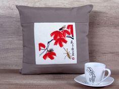 Coussin, housse de coussin au point de croix d'inspiration orientale, asiatique brodé jeter 14 x 14 (cm 36 x 36 cm) ~ cadeau de mariée de style japonais