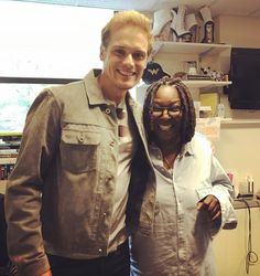 Here's a pic of Sam Heughan with Whoopi Goldberg.