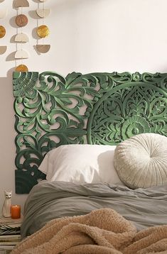 Shop Sienna Carved Green Headboard at Urban Outfitters today. We carry all the latest styles, colours and brands for you to choose from right here. Green Headboard, Wood Headboard, Bohemian Headboard, Headboard Ideas, Pillow Headboard, Leather Headboard, Bohemian Bedding, Bed Pillows, Home Bedroom