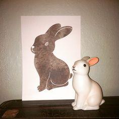 Love my new bunny print, inspired by the Dotcomgiftshop Woodland rabbit night light, by Keepsake Frames  keepsakeframes.co.nz #bunnyart