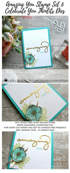 Anna' Stampin' Cave - Amazing You Card using Stampin' Up! Amazing You Stamp Set & Celebrate You Thinlits Dies - Bermuda Bay - Pool Party - Gold