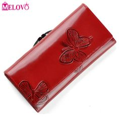 Fair price MELOVO Luxury Designer Fashion Beautiful Butterfly Pattern Women's Hasp Wallets Genuine Leather Clutches Purse  VC88 just only $25.98 with free shipping worldwide  #womanwallets Plese click on picture to see our special price for you