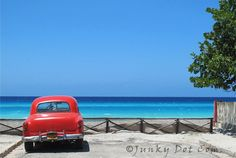 Old Car Parked At The Beach Varadero Cuba