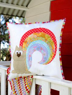 Rainbow Squirrel Applique PDF Pattern  by claireturpindesign