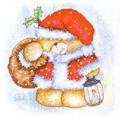 Вышивка крестом «Мишка Тедди» новогодний =) | Вышивка крестиком