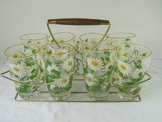 Vintage DAISY GLASSES Set/8 DAISIES Tumbler + Rack Flower Glassware Floral Barware by LavenderGardenCottag on Etsy https://www.etsy.com/listing/179453586/vintage-daisy-glasses-set8-daisies