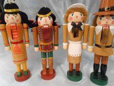 NOS+Set+of+4+Thanksgiving+Nutcrackers+*+2+Native+Americans+and+2+Pilgrims++#TerrysVillage