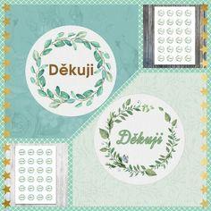 Kulaté samolepky - 2 motivy s textem 'Děkuji' (Round stickers - 2 designs with the text 'Thank You')   1 sheet approx. $2 Round Stickers, Texts, Artwork, Design, Round Labels, Work Of Art, Auguste Rodin Artwork, Artworks