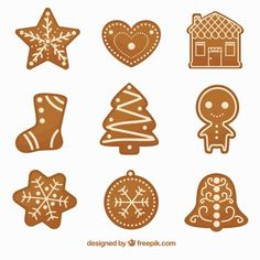 Set of delicious and decorative gingerbread cookies Free Vector Cute Christmas Cookies, Christmas Gingerbread House, Christmas Gift Box, Holiday Cookies, Gingerbread Houses, Merry Christmas, Gingerbread Decorations, Gingerbread Cookies, Christmas Decorations