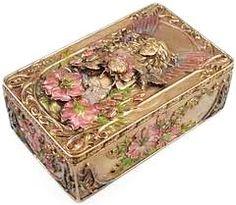 Gilt and enamel snuff box.